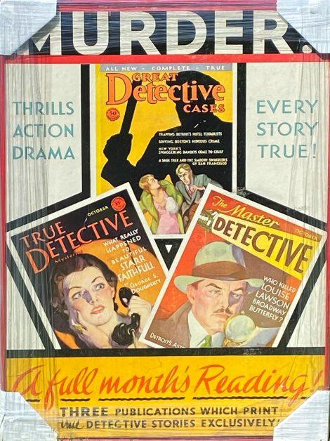 Vintage Macfadden 1931 Advertising Sign for Detective Magazines
